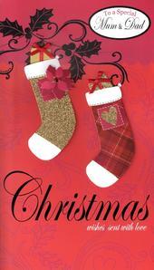Mum & Dad Luxury Large Embellished Christmas Card Nice Message
