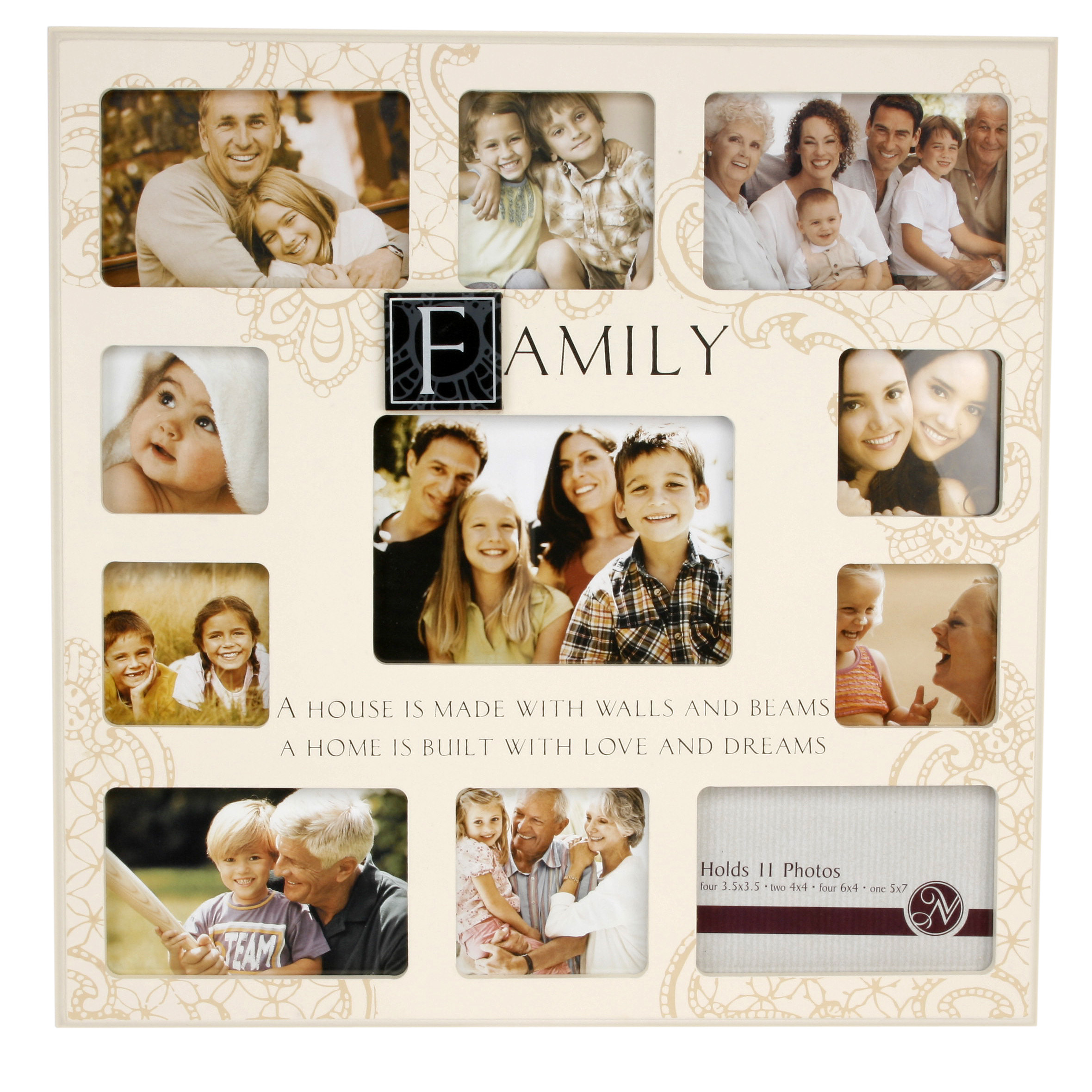 Family Very Large Cream Mdf Collage Multi Photo Frame 11 X