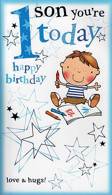 LARGE SON 1ST HAPPY BIRTHDAY CARD 1 TODAY 3D POP OUT QUALITY GREETING CARD