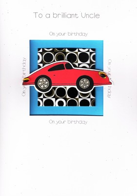 LUXURY SPECIAL 3D RED SPORTS CAR HANDCRAFTED BRILLIANT UNCLE BIRTHDAY CARDS CARD