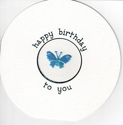 ROUND HANDMADE 3D BUTTERFLY HAPPY BIRTHDAY CARD GREETING CARDS BLANK INSIDE