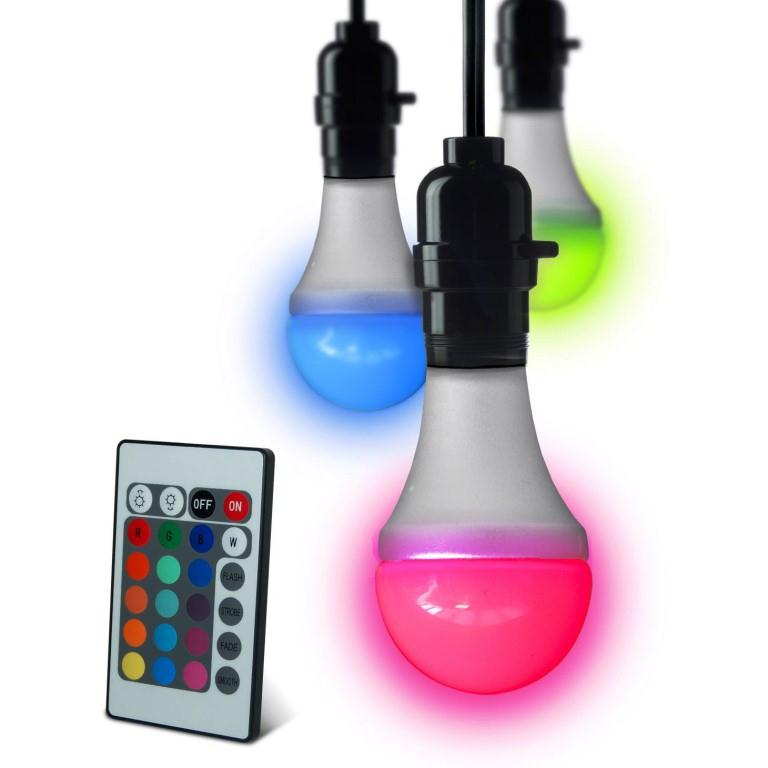 multicoloured led bulb colour changing light bulbs remote control included new. Black Bedroom Furniture Sets. Home Design Ideas