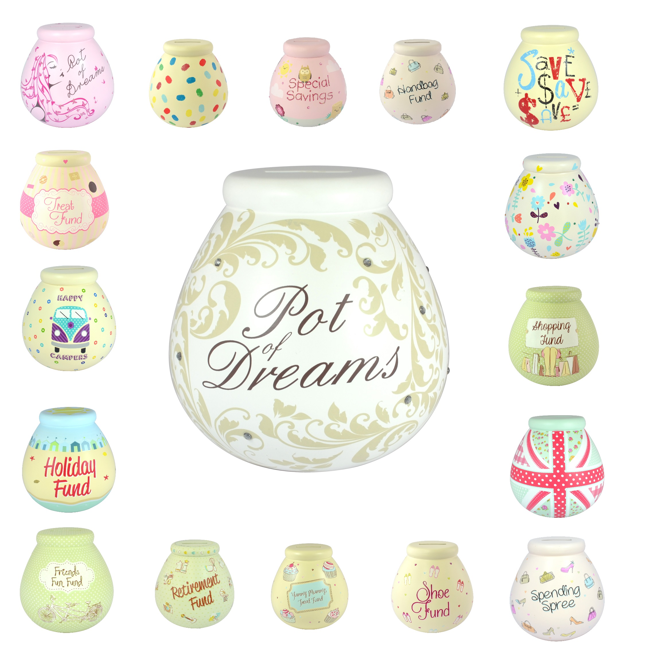 Pot of Dreams Money Pots Save Up & Smash Great Gift Idea New & Boxed Big Choice