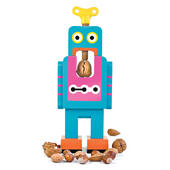 Large Blue Robot Retro Wooden Nutcracker