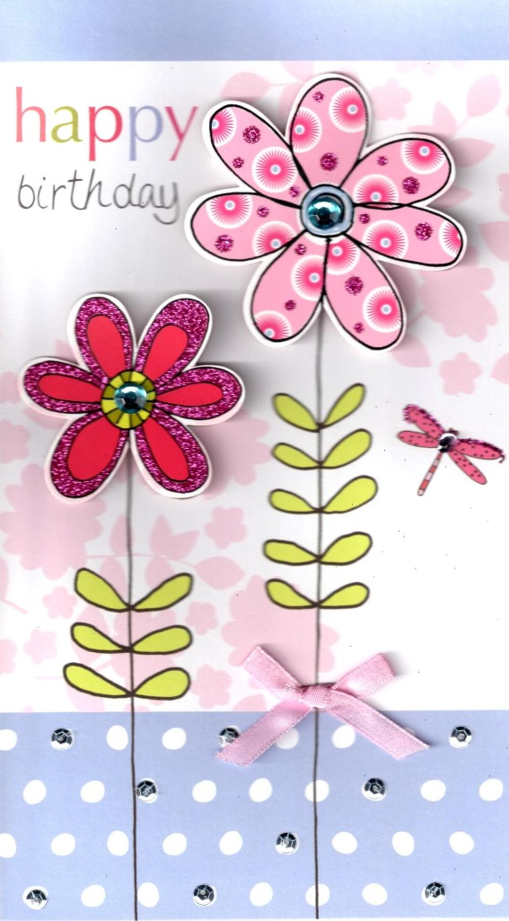 pink flower pretty birthday greeting card  cards  love kates