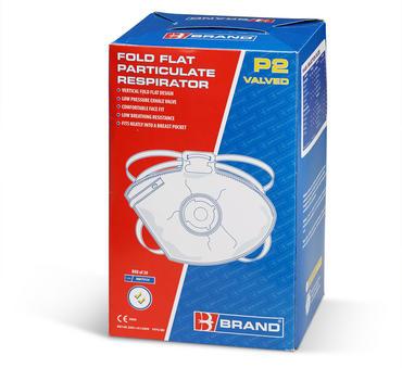 B Brand Fold Flat Disposable Dust Masks FFP2V 20 Pack Thumbnail 2