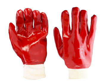 10 Pairs of Click Red PVC Knit Wrist Gloves