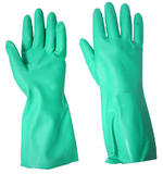 10 Pairs Click Green Flocklined Nitrile Gauntlet