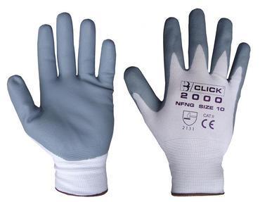 Click Nylon Work Gloves Nitrile Palm Dipped 10 Pack