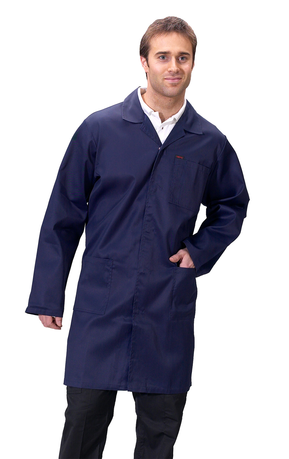 Click Warehouse Jacket Lab Coat White Green Navy Or