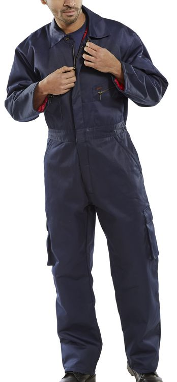 Click Lined Padded Quilted Boilersuit Overalls Coverall Navy Blue Insulated