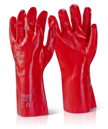 "Red PVC Gauntlet 14"" 10 Pack"