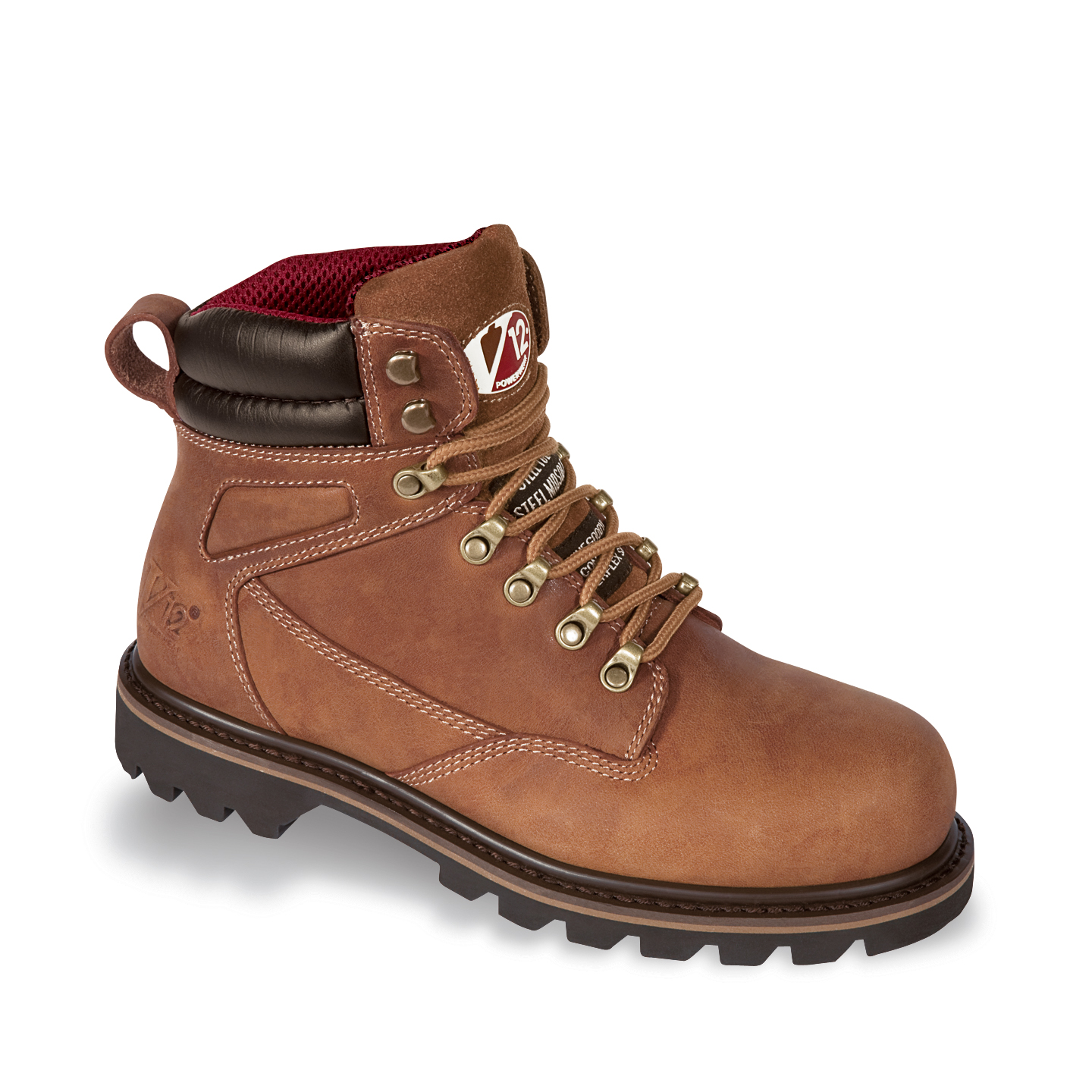 V12 Mohawk Safety Work Boots Brown Leather Steel Toe Cap