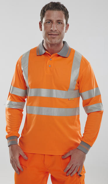 Long Sleeve Hi Viz Polo Shirt Thumbnail 1
