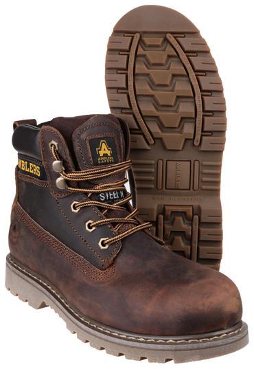Amblers FS164 Brown Leather Safety Work Boots