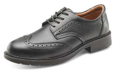 Leather Brogue Safety Shoes Black