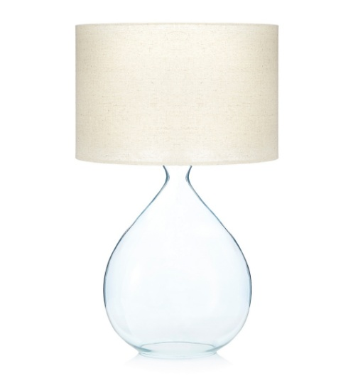 Debenhams Blue Glass Table Lamp With Linen Shade