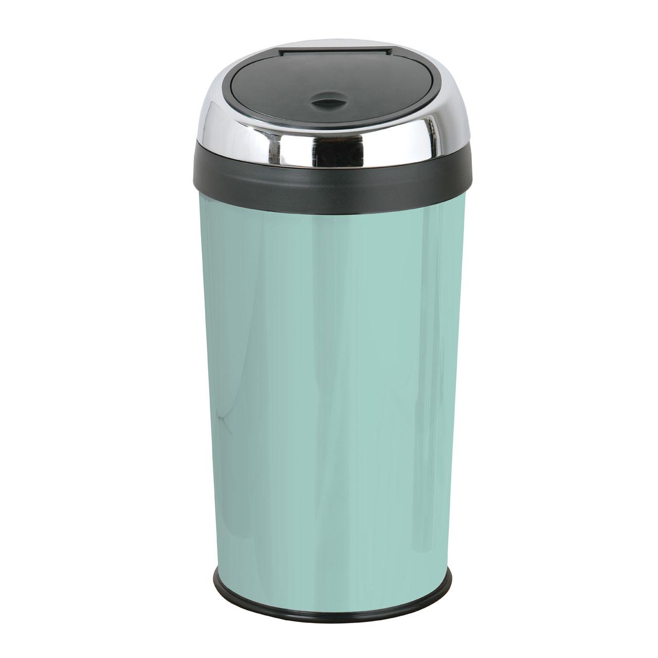 30 Litre Touch Top Trash Kitchen Bin Enamel Stainless Steel Inner ...
