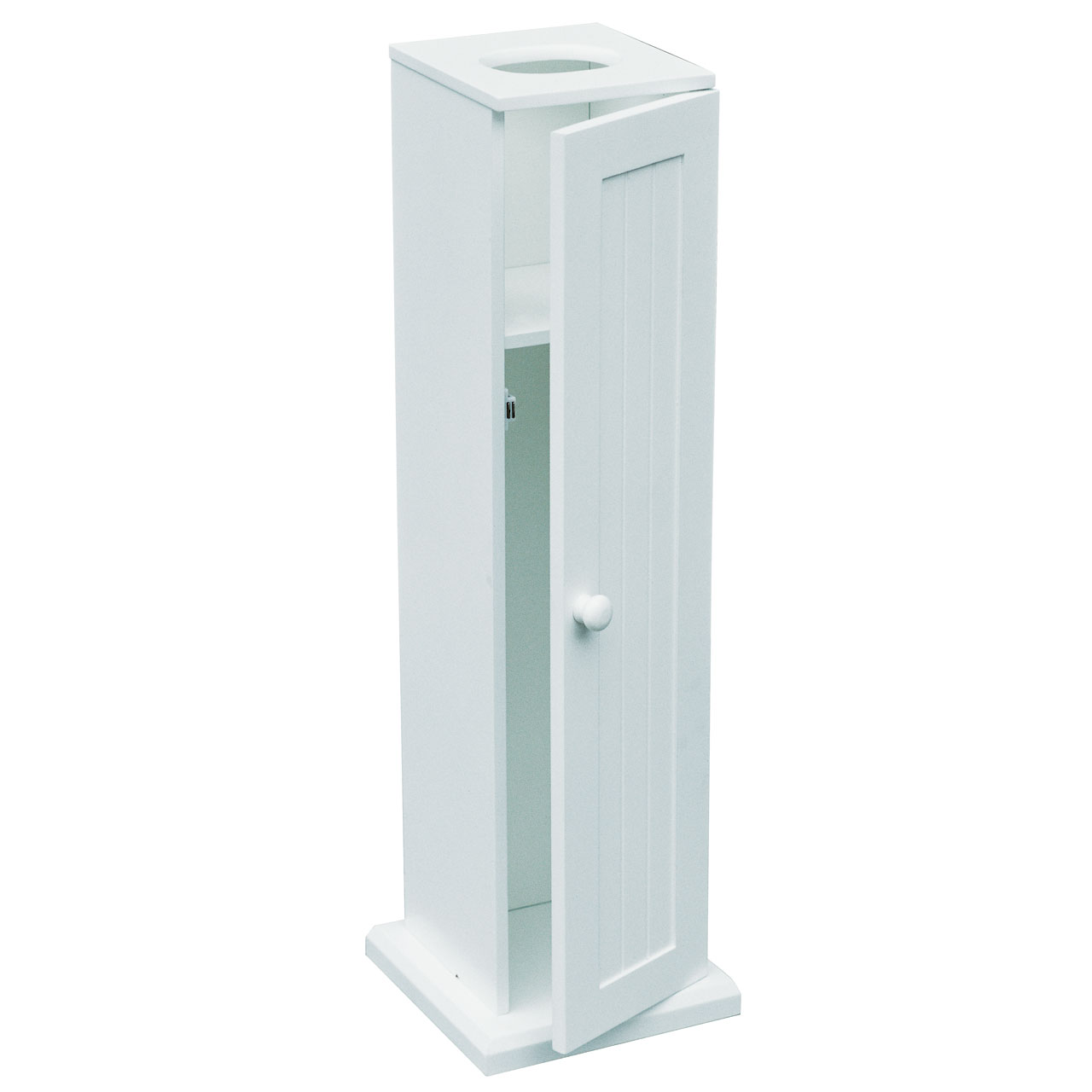 New white wood portland toilet paper cabinet 5 roll for Loo roll storage