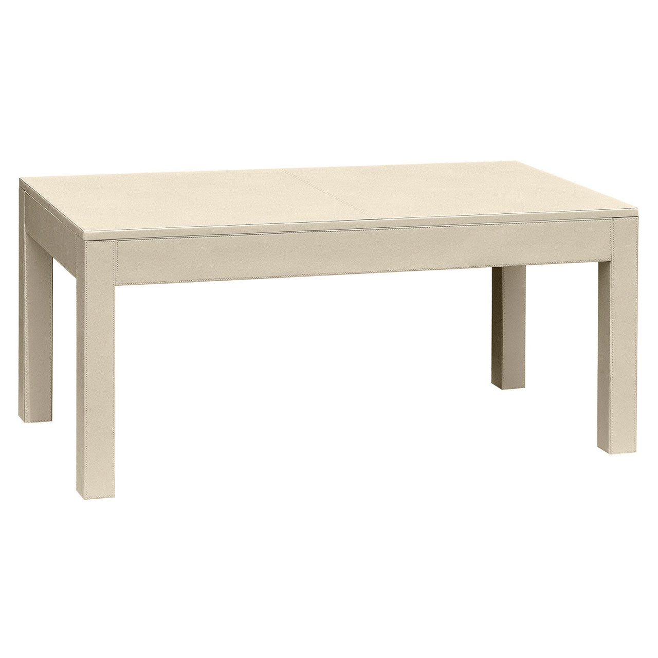 Coffee Table Mdf Table With A Cream Leather Effect Finish Ebay
