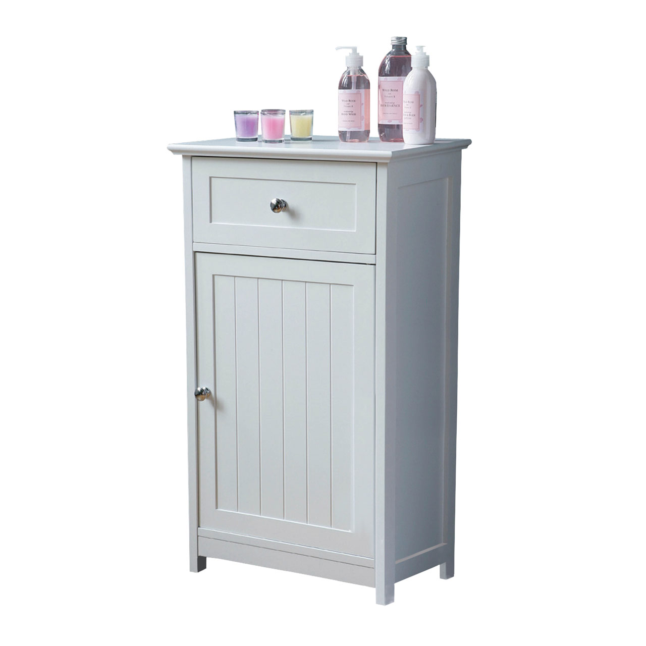 White Wood Portland Bathroom Floor Standing Cabinet One