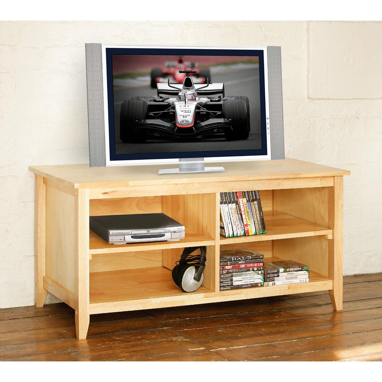 natural wood tv av multimedia stand unit with 4 shelves 110cm width 55cm high ebay. Black Bedroom Furniture Sets. Home Design Ideas