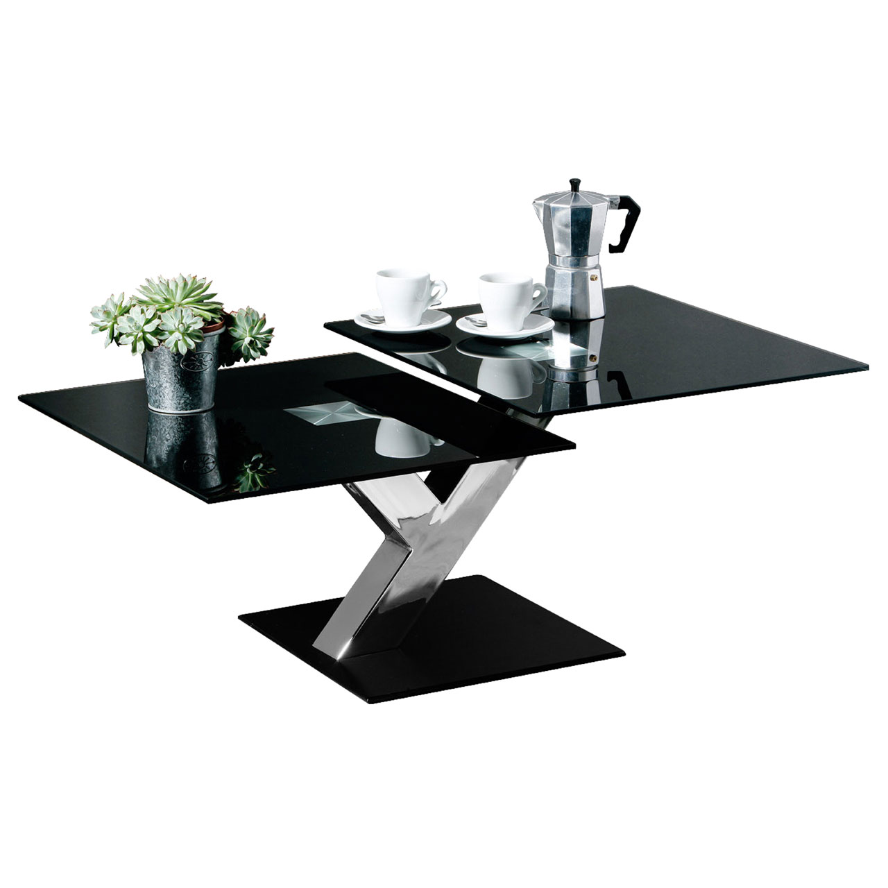 Stylish 2 Section Black Glass Coffee Feature Table Tempered Chrome Finish Leg Ebay
