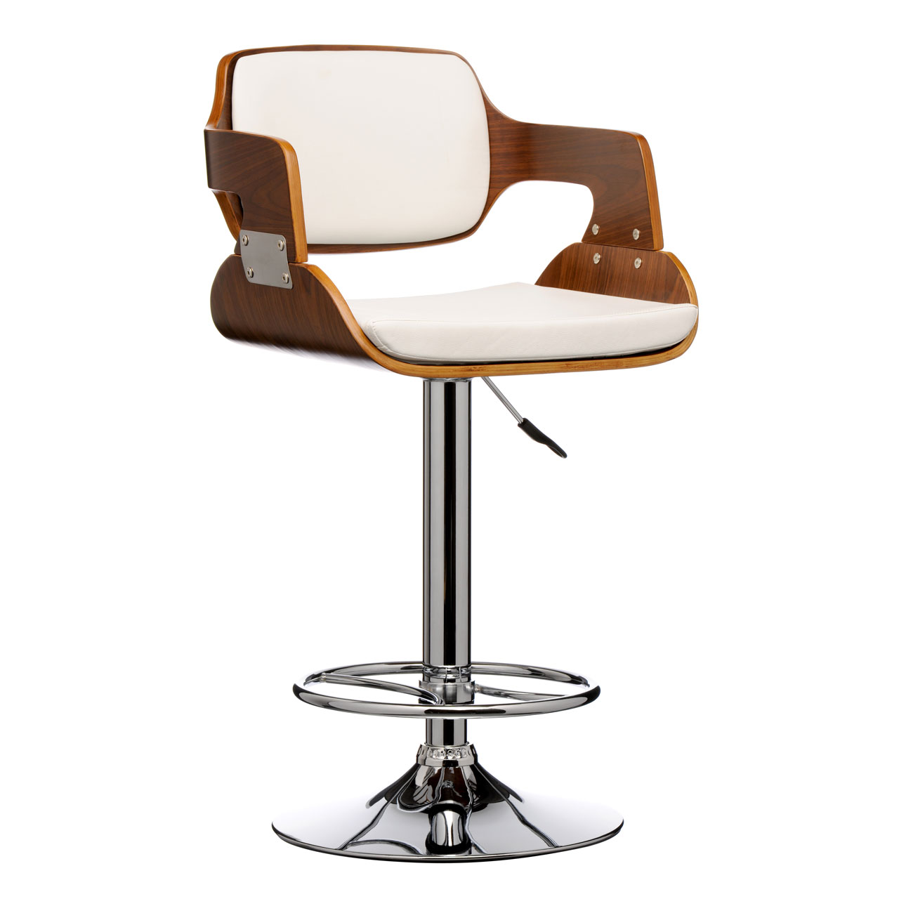 Stool Leather Effect Walnut Wood Bar Stool Comfortable