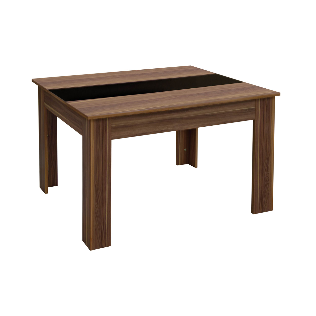 Fargo four person Dining Table, Walnut Veneer, Black High Gloss Detail