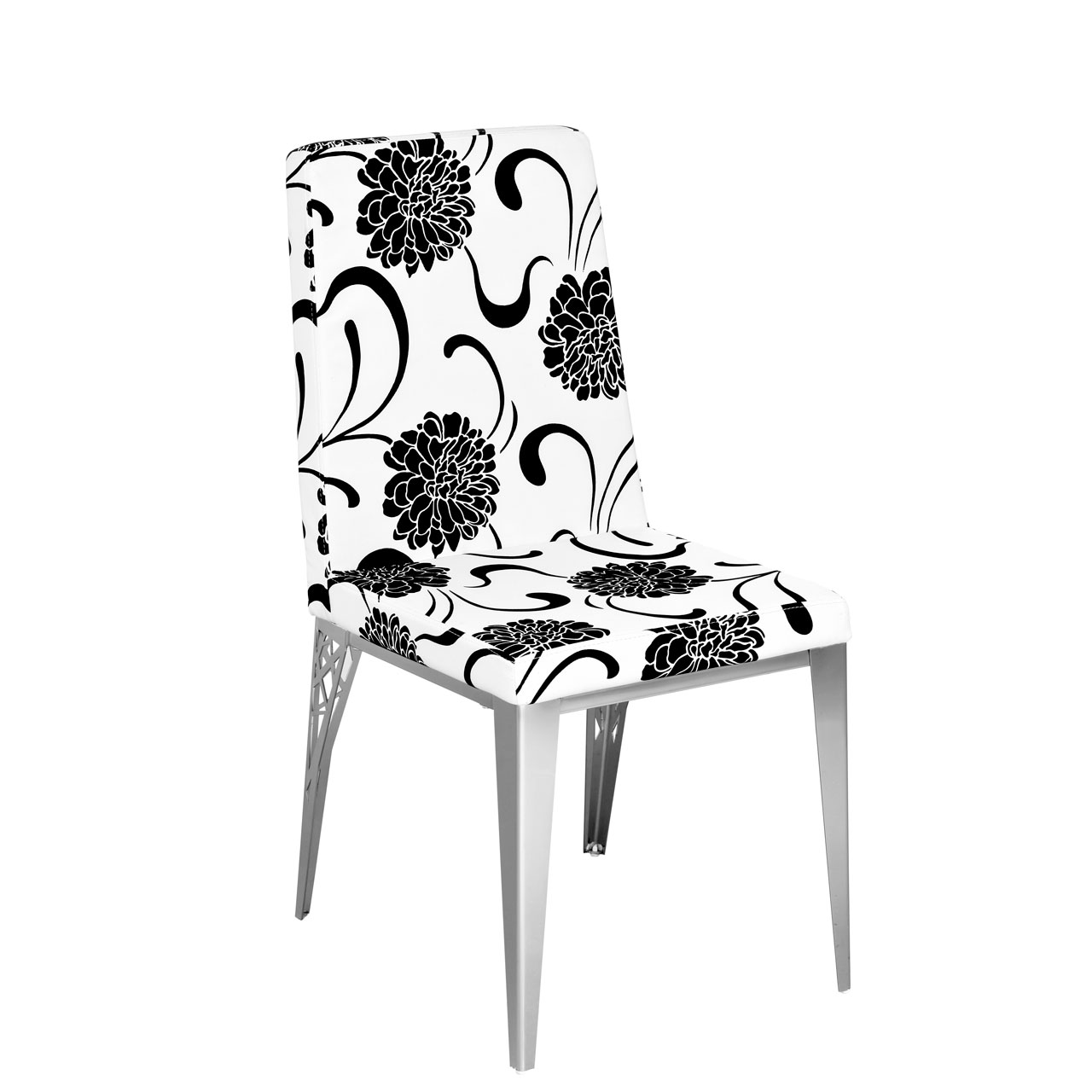 Ornate Set Of 2 Padded Dining Chairs White And Black