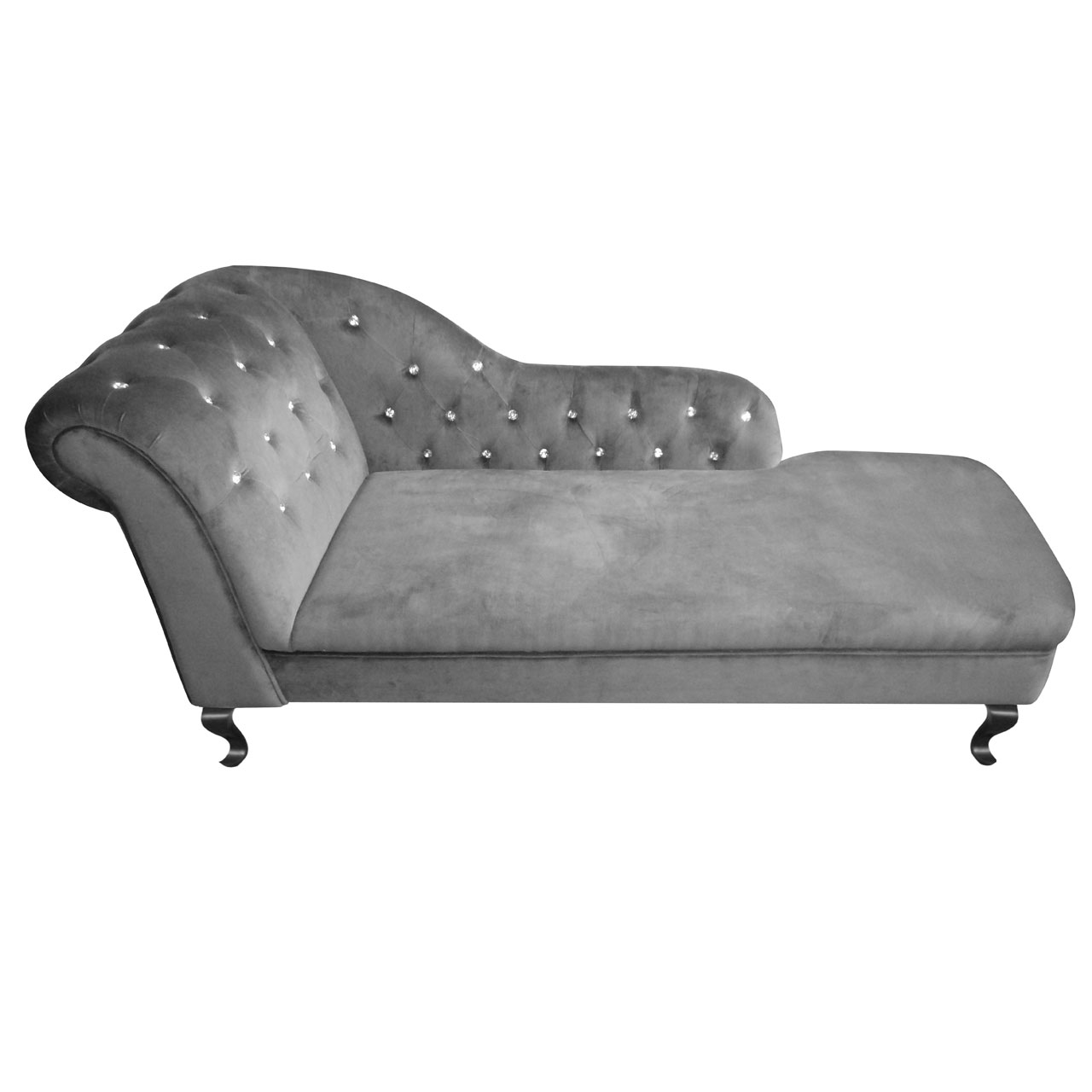 Chesterfield chaise lounge charcoal grey velvet diamante for Chaise chesterfield