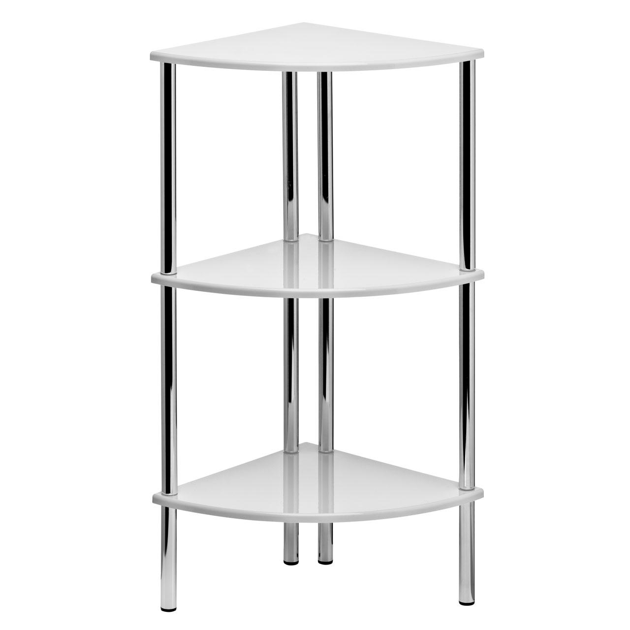78cm High Gloss Corner Shelf Display Unit 3 Tier Shelves