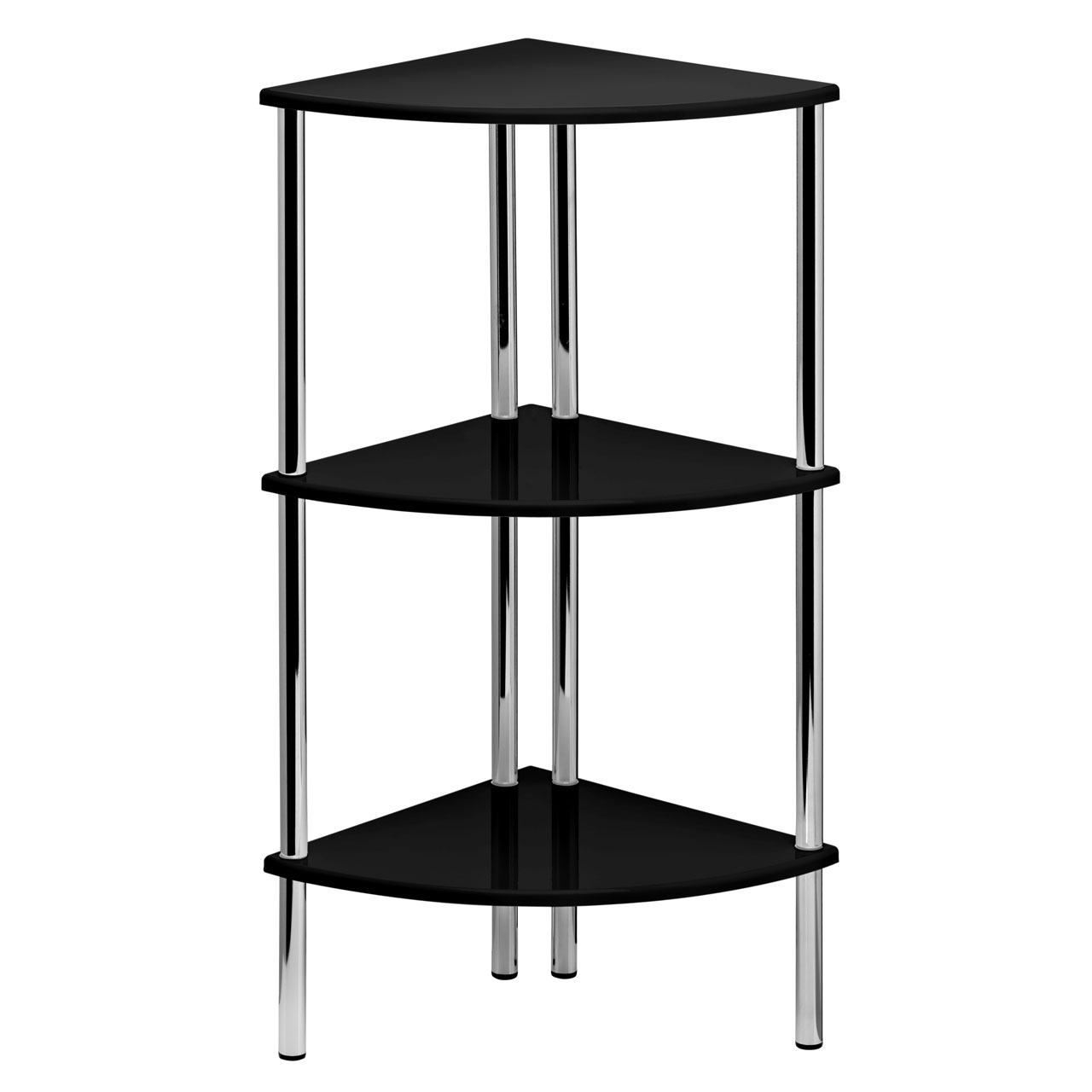 78cm High Gloss Corner Shelf Display Unit 3 Tier Shelves