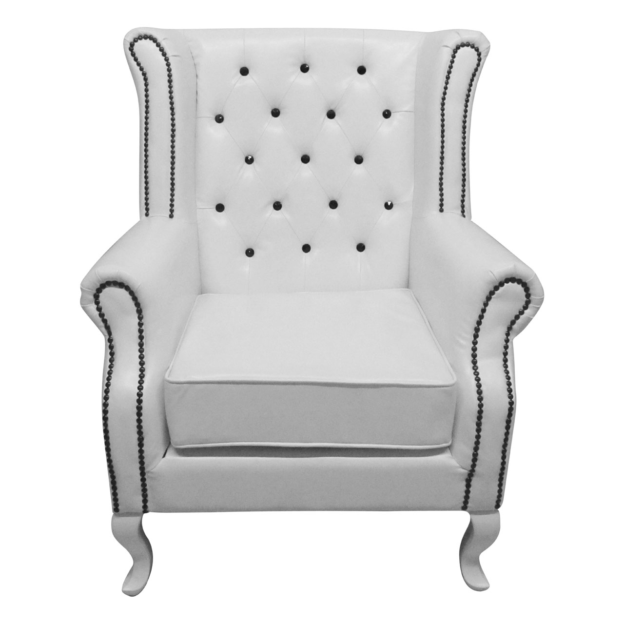 Details about chesterfield wing chair white leather black diamante