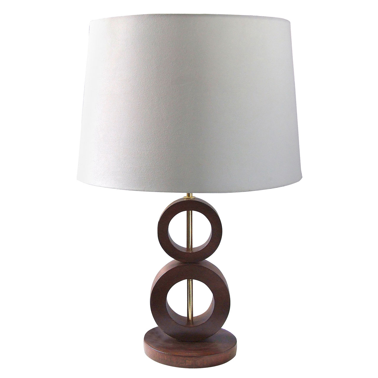 stylish wooden circles detail base table lamp light mango wood fabric shade ebay. Black Bedroom Furniture Sets. Home Design Ideas