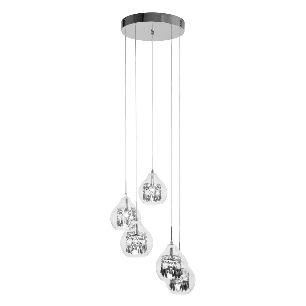 Ceiling Light 5 Pendant Light Hanging Clear Glass Detailing with Chrome Fittings