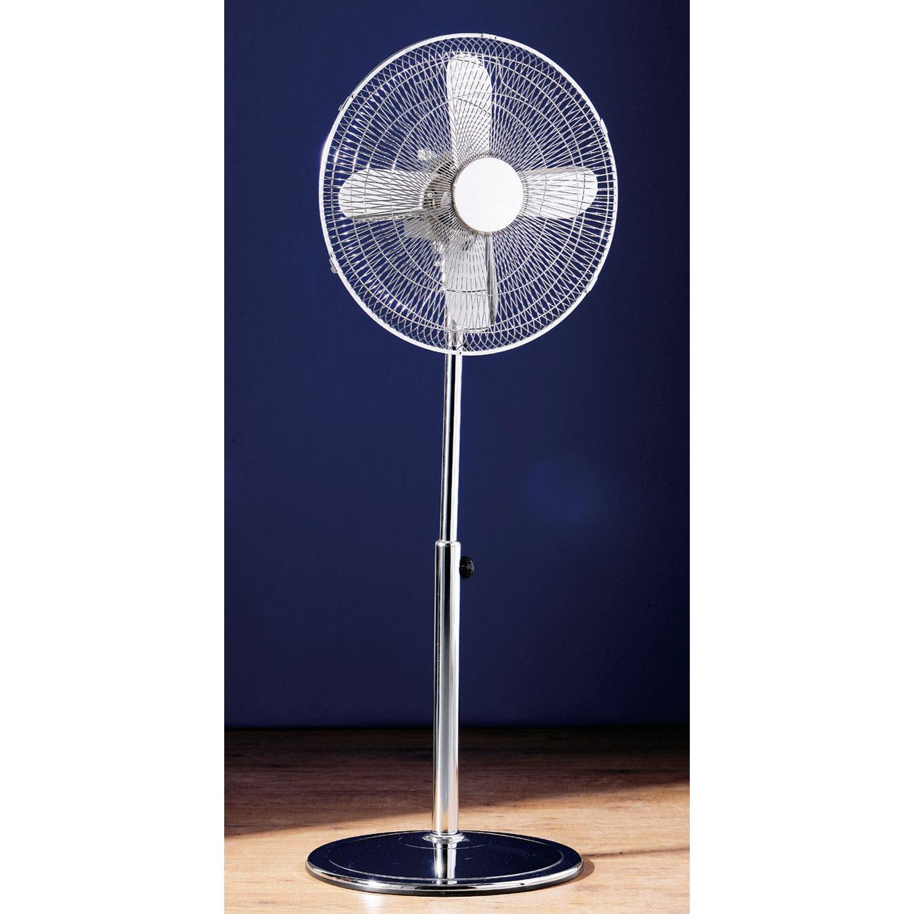 Retro chic height adjustable oscillating 3 setting floor for 14 inch chrome floor standing fan