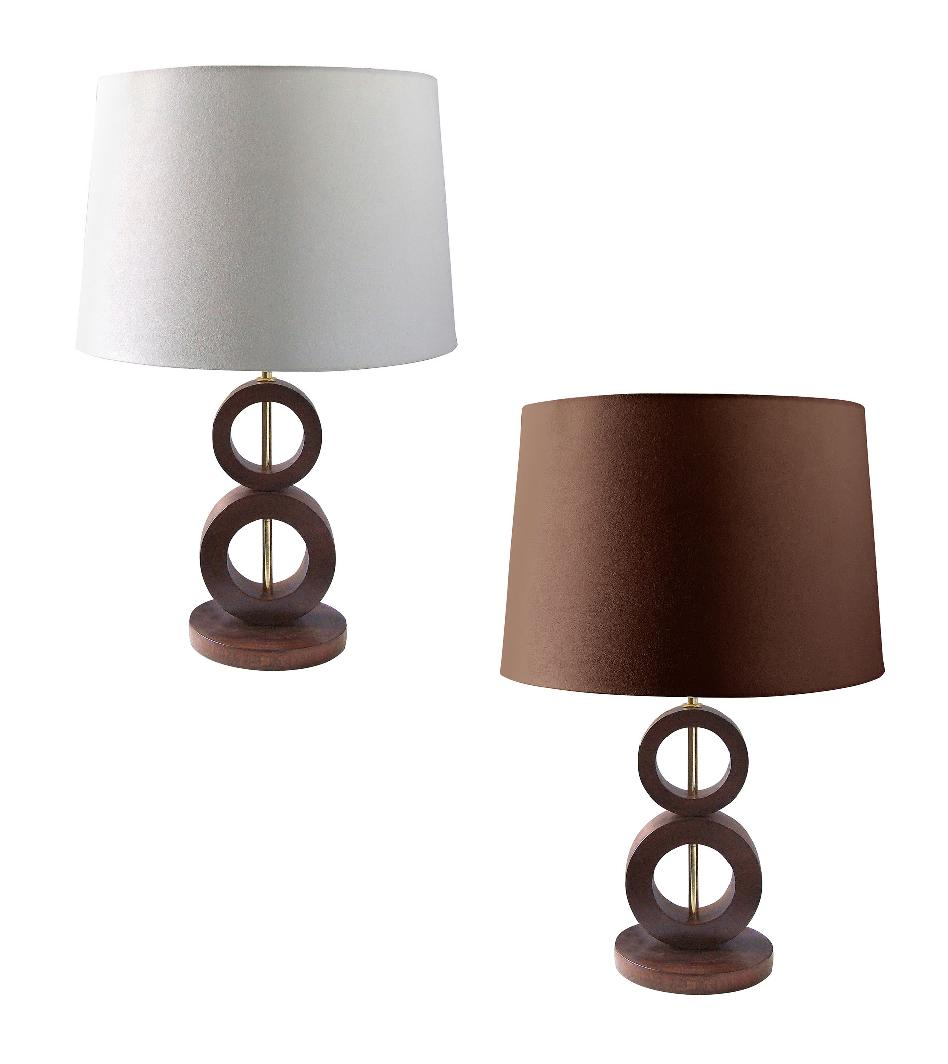 stylish wooden circles detail base table lamp light mango wood fabric shade. Black Bedroom Furniture Sets. Home Design Ideas