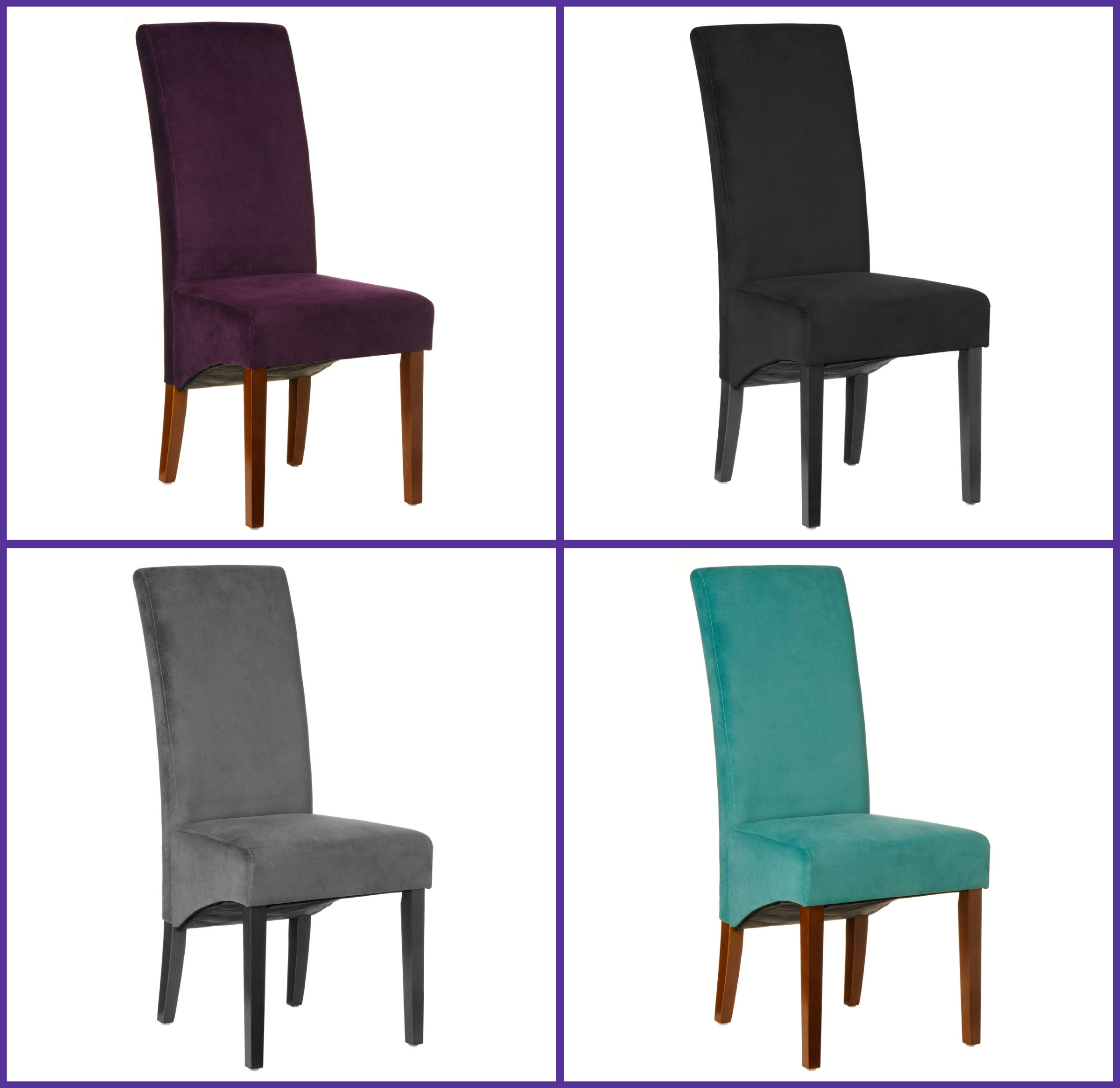 Medan Set Of 2 Medan High Back Dining Chairs Velvet Finish Seat Table EBay