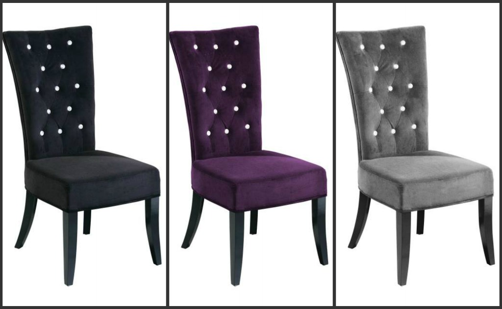Grey Velvet High Back Dining Chairs