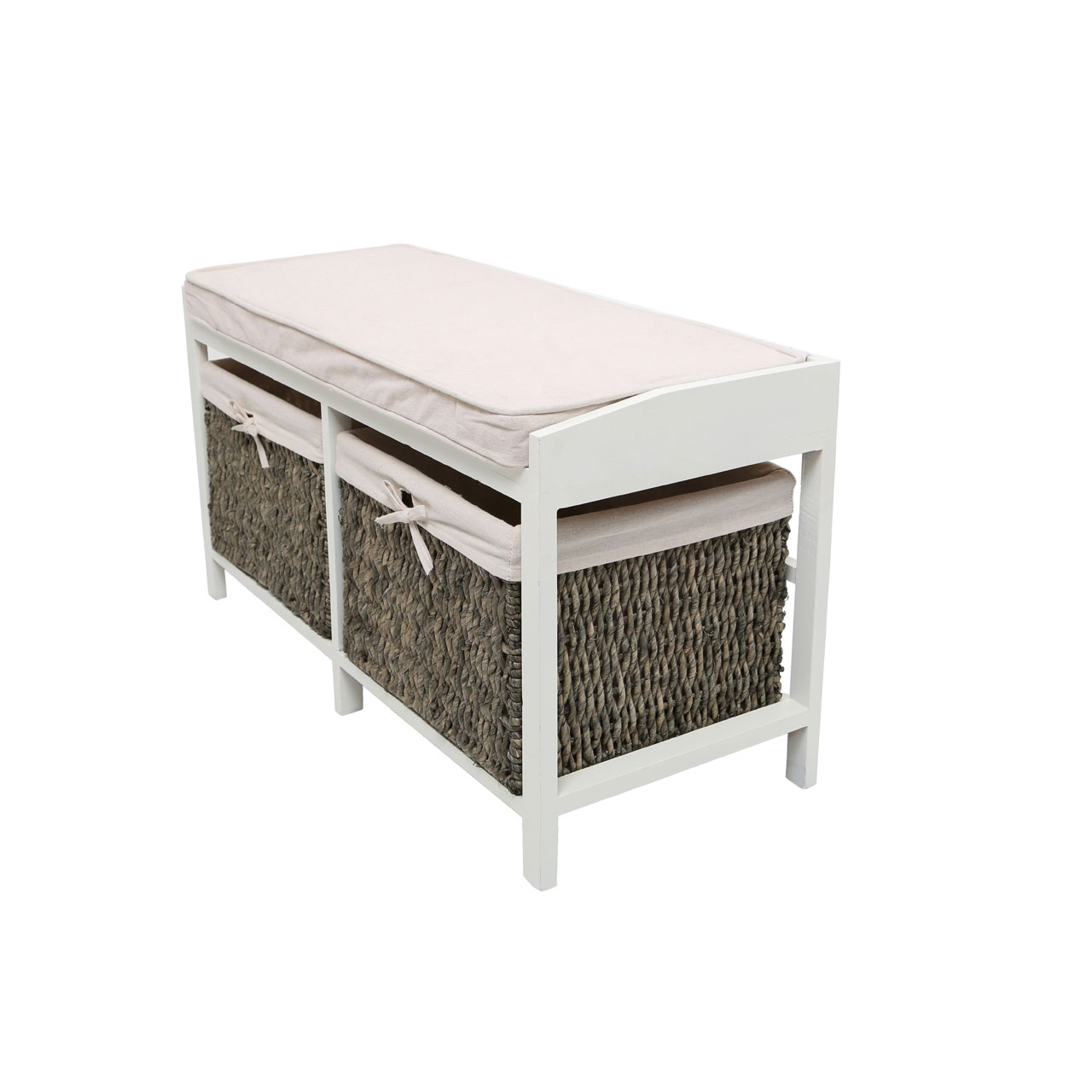 Rustic padded cream wooden storage bench with 2 cotton lined maize baskets ebay Bench with baskets