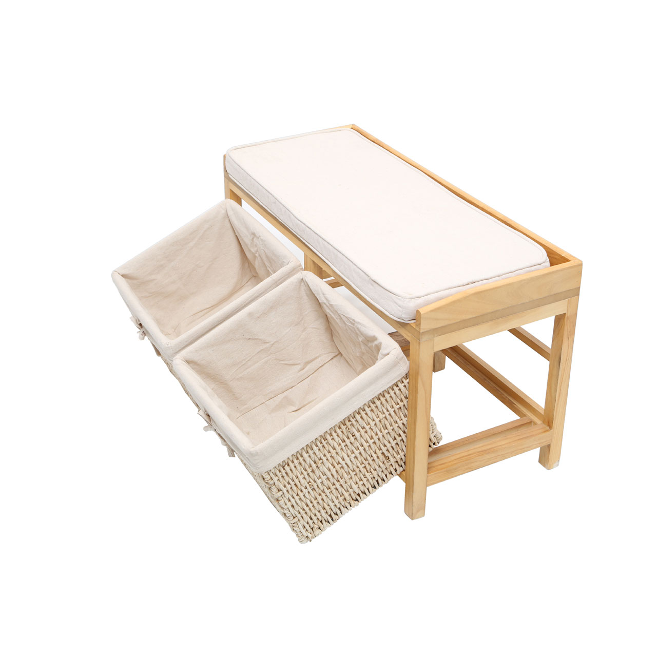 Rustic padded light wood wooden storage bench with 2 cotton lined maize baskets ebay Bench with baskets