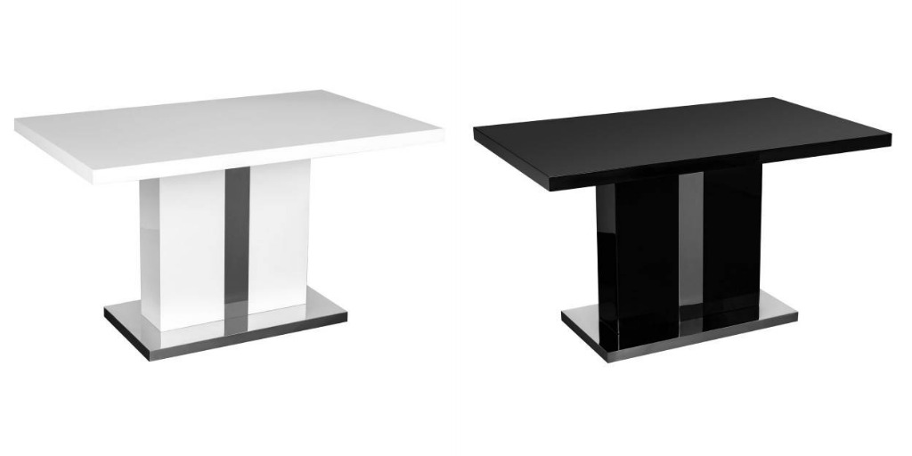 Dining Table With A Pillar Leg Design Made Of MDF With A High Gloss Finish