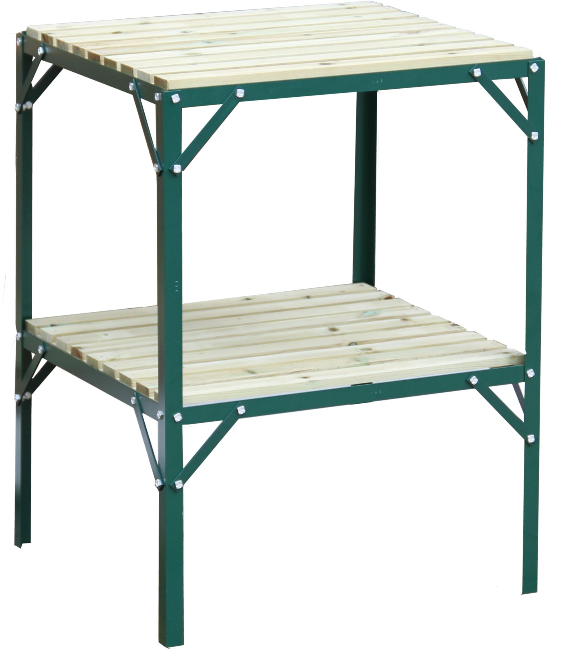 Greenhouse Staging Bench Grow Plant Shelves Two Tier 2ft Wide X 2ft Long Ebay