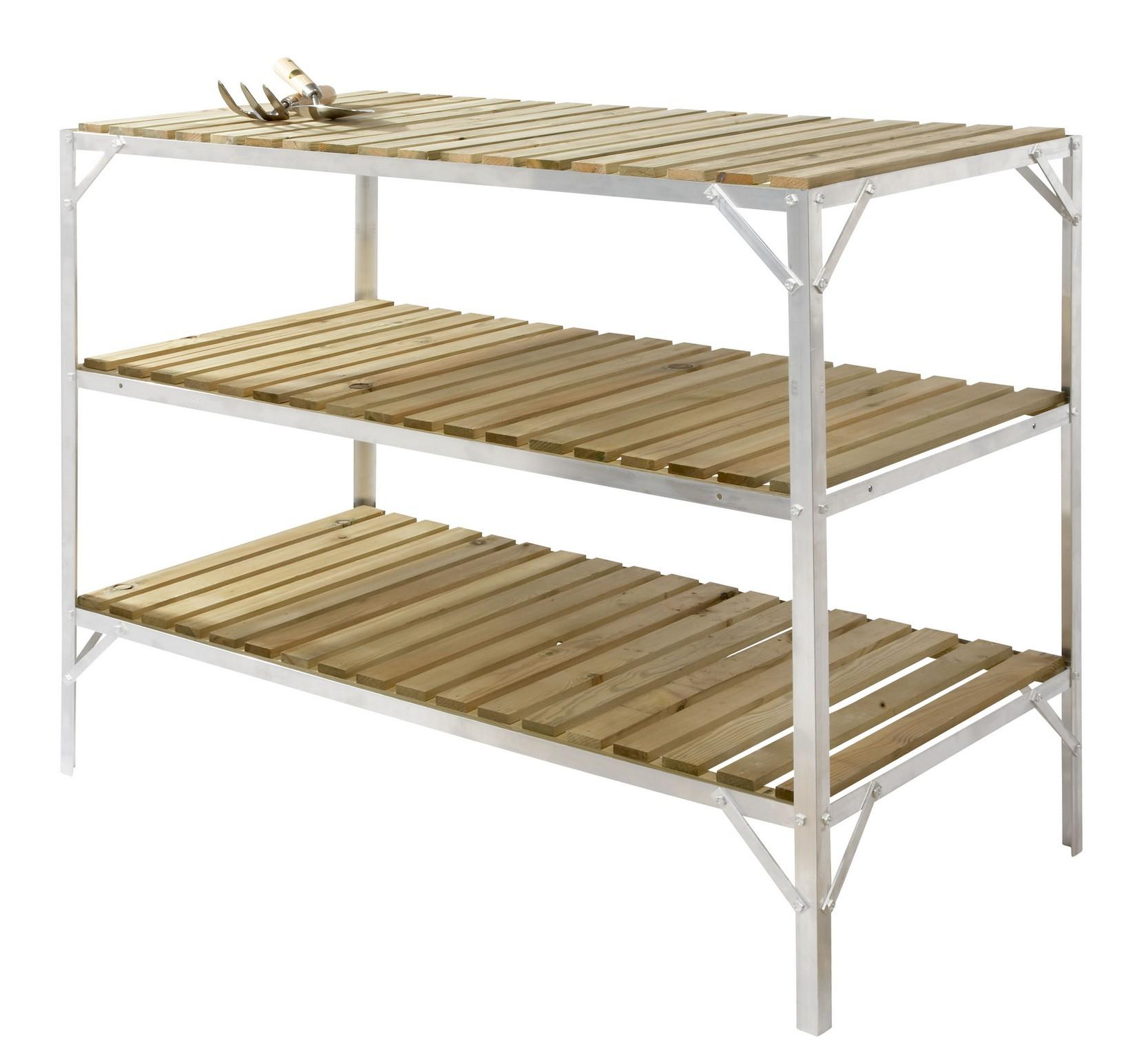 Greenhouse staging bench wooden three tier 2ft wide x - Wooden staging for greenhouse ...