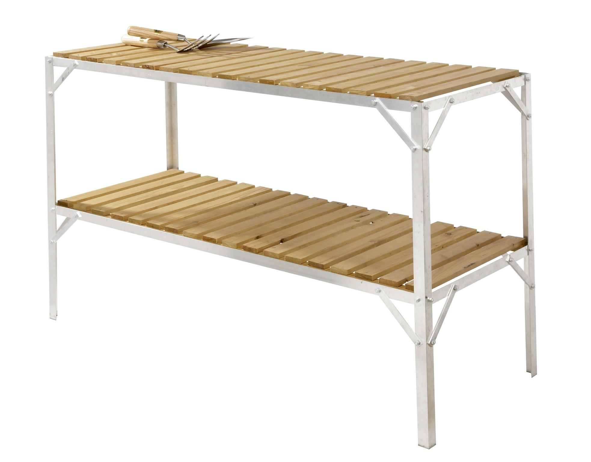 Greenhouse staging bench wooden two tier 18 wide x 4ft - Wooden staging for greenhouse ...