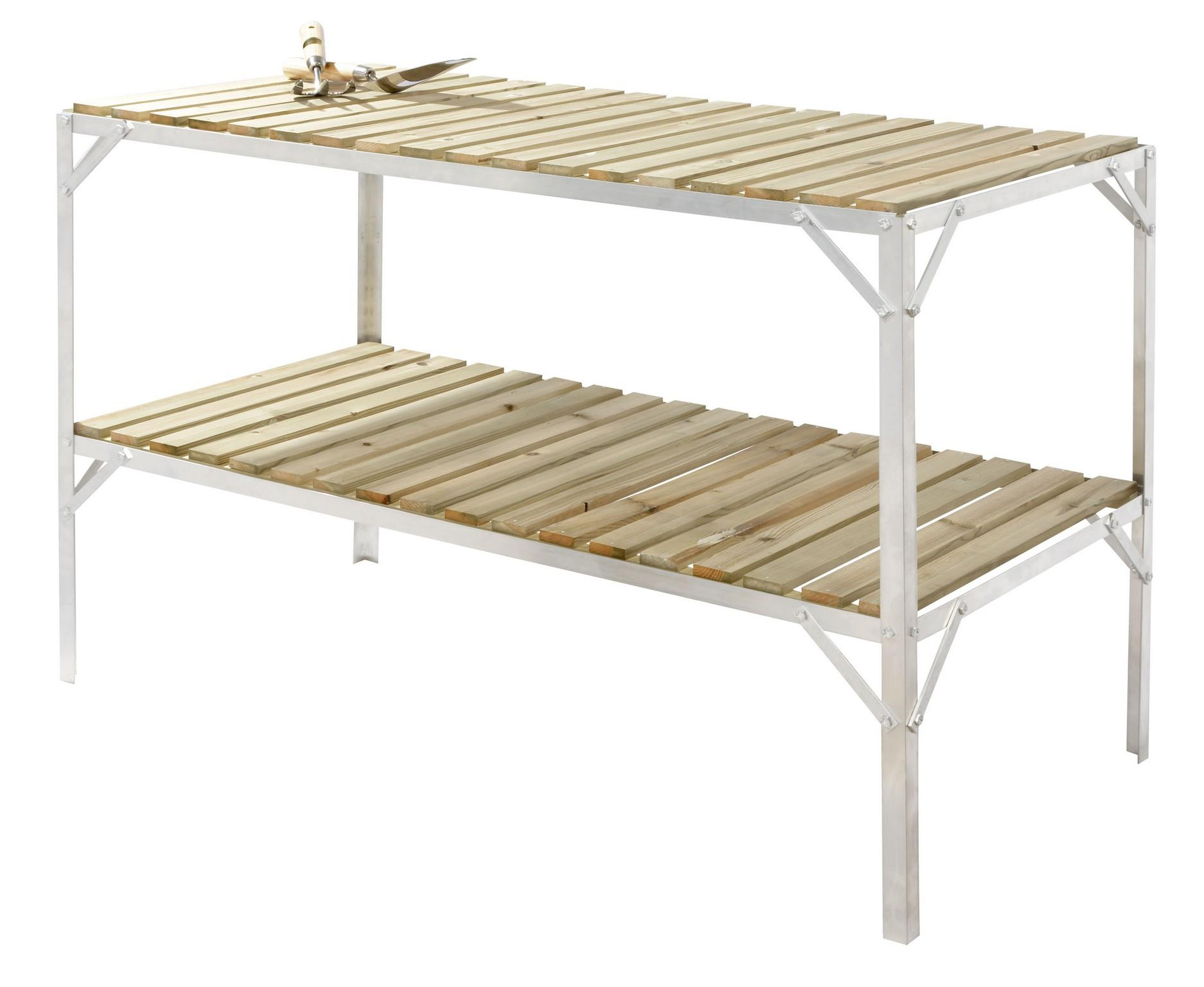 Greenhouse staging bench wooden two tier 2ft wide x 4ft - Wooden staging for greenhouse ...