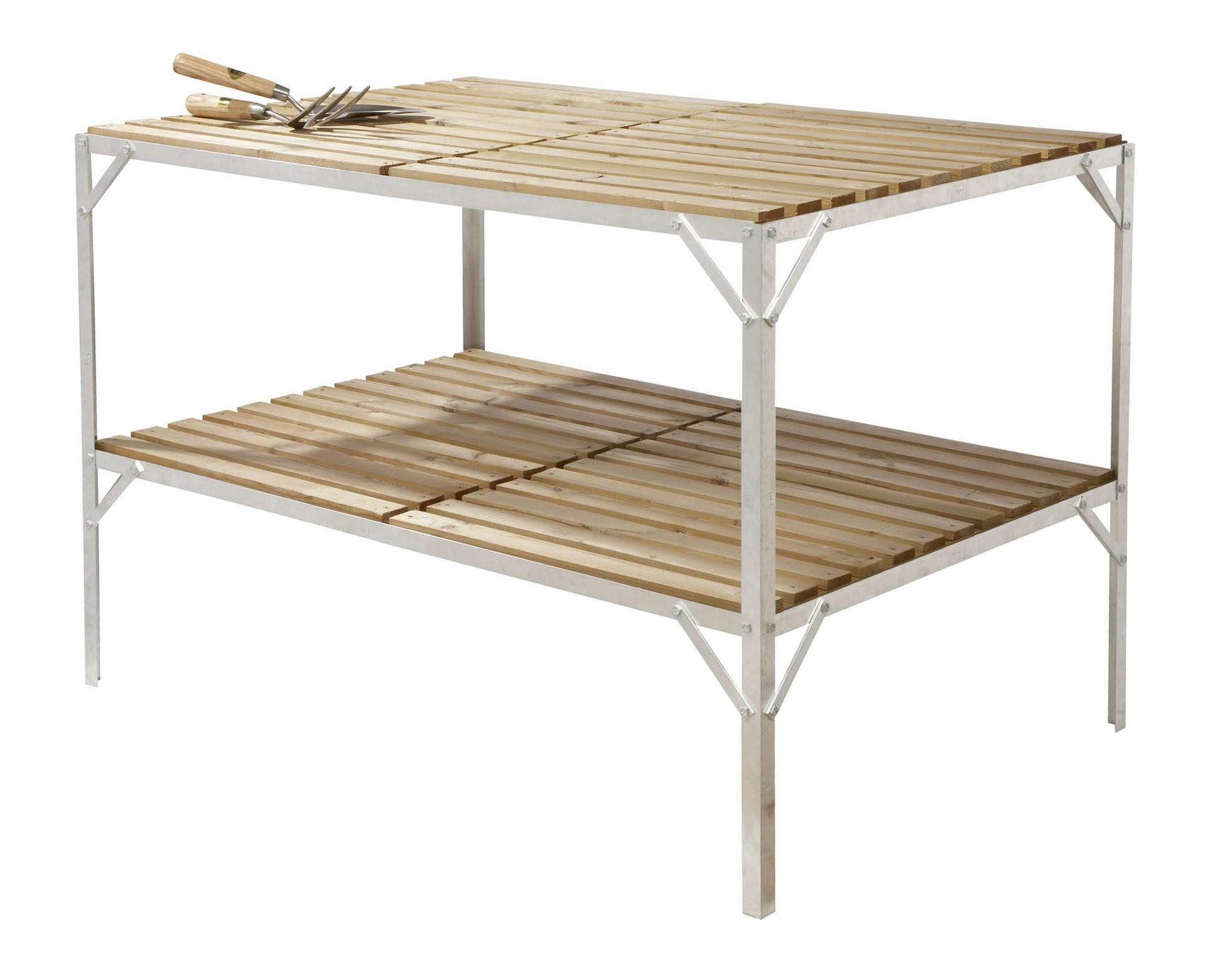 Greenhouse staging bench wooden two tier 30 wide x 4ft - Wooden staging for greenhouse ...