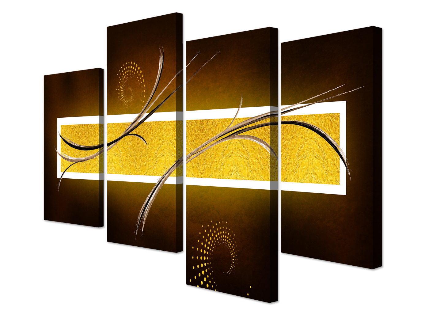 Large Brown And Gold Abstract Art Canvas Pictures