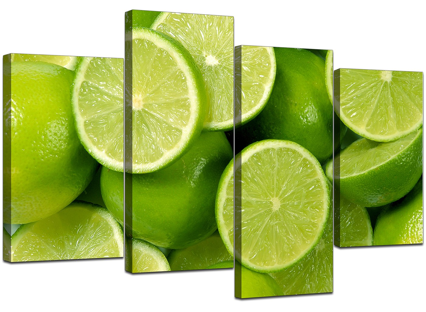 Kitchen canvas wall art pictures lime green prints xl set for Lime green wall art